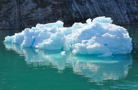 Blue ice iceberg reflected in Disko Bay-7-12-14