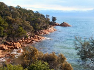 Pink granite shore, Coles Bay from Freycinet Lodge 5-3-07