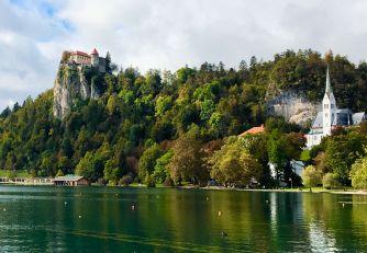 Bled Castle and Župnijska cerkev sv. Martina, Lake Bled