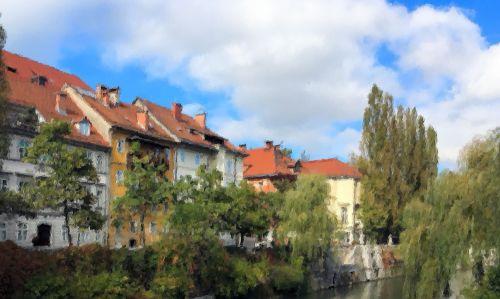 Ljubljana river bank-2-painting