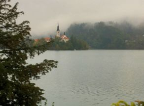 Pilgrimage Church of the Assumption of Maria, Lake Bled w clouds