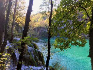 Plivice Lakes-green lake w small falls